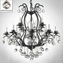 Wrought Iron Crystal Chandelier Lighting Dressed With Crystal Balls - Thumbnail 0