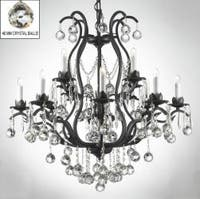 Wrought Iron Crystal Chandelier Lighting Dressed With Crystal Balls