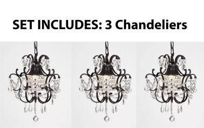 Chandelier Wrought Iron Crystal Chandelier & Pendant Lighting  H14 x W11 - Thumbnail 0