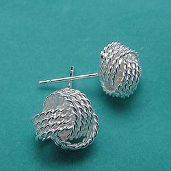 Vienna Jewelry Sterling Silver Love Knot Stud Earrings - Thumbnail 0