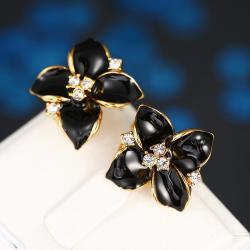Vienna Jewelry 18K Gold Classic Onyx Rose Petal Earrings Made with Swarovksi Elements only by: Rubique Jewelry