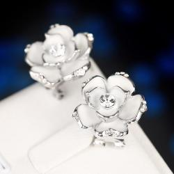 Vienna Jewelry 18K White Gold Floral Ivory Stud Earrings Made with Swarovksi Elements only by: Rubique Jewelry