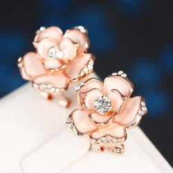 Vienna Jewelry 18K White Gold Floral Coral Stud Earrings Made with Swarovksi Elements only by: Rubique Jewelry