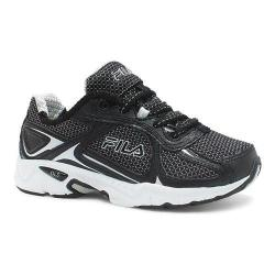 Boys' Fila Quadrix Running Shoe Black/Black/Metallic Silver