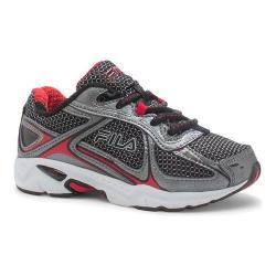Boys' Fila Quadrix Running Shoe Black/Dark Silver/Fila Red