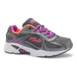 Girls' Fila Quadrix Running Shoe Dark Shadow/Dark Silver/Purple Cactus Flower