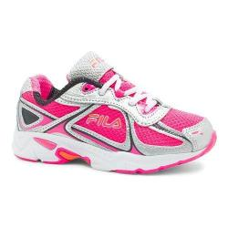 Girls' Fila Quadrix Running Shoe Knockout Pink/Metallic Silver/Vibrant Orange