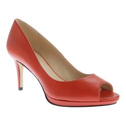 Women's Nine West Gelabelle Open Toe Pump Red Orange Leather
