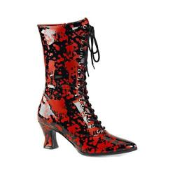 Women's Funtasma Victorian 120BL Mid Calf Boot Black/Red Patent