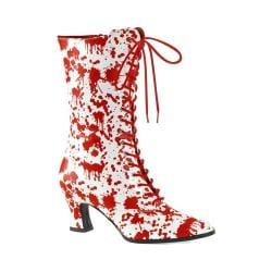 Women's Funtasma Victorian 120BL Mid Calf Boot White/Red Patent