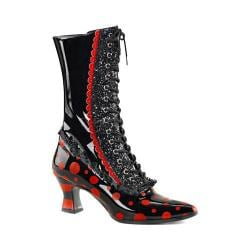 Women's Funtasma Victorian 122 Mid Calf Boot Black/Red Patent