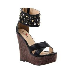 Women's Luichiny Min Dee Wedge Sandal Black Imi Leather