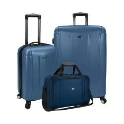 US Traveler Hytop 3-Piece Spinner Luggage Set Blue