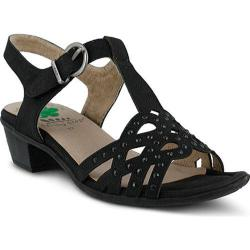 Women's Spring Step Scale T Strap Sandal Black Manmade