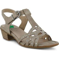Women's Spring Step Scale T Strap Sandal Taupe Manmade