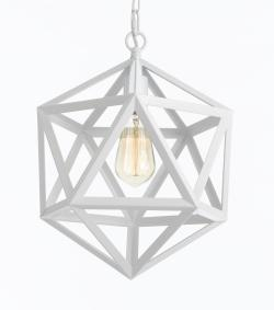 White Wrought Iron Polyhedron Pendant Mini Chandelier Lighting