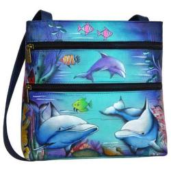 Women's Anuschka Double Zip Small Travel Crossbody Dolphin World