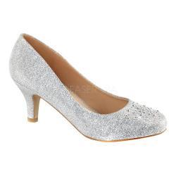 Women's Fabulicious Doris 06 Pump Silver Glitter Mesh Fabric