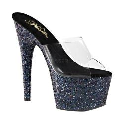 Women's Pleaser Adore 701LG Platform Slide Clear PVC/Black Hologram Glitter