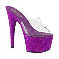 Women's Pleaser Adore 701LG Platform Slide Clear PVC/Purple Hologram Glitter