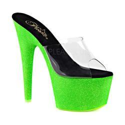 Women's Pleaser Adore 701UVG Platform Slide Clear PVC/Neon Green Glitter