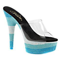 Women's Pleaser Delight 601UVS Platform Slide Clear PVC/Neon Multi Blue