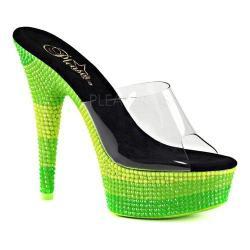 Women's Pleaser Delight 601UVS Platform Slide Clear PVC/Neon Multi Green