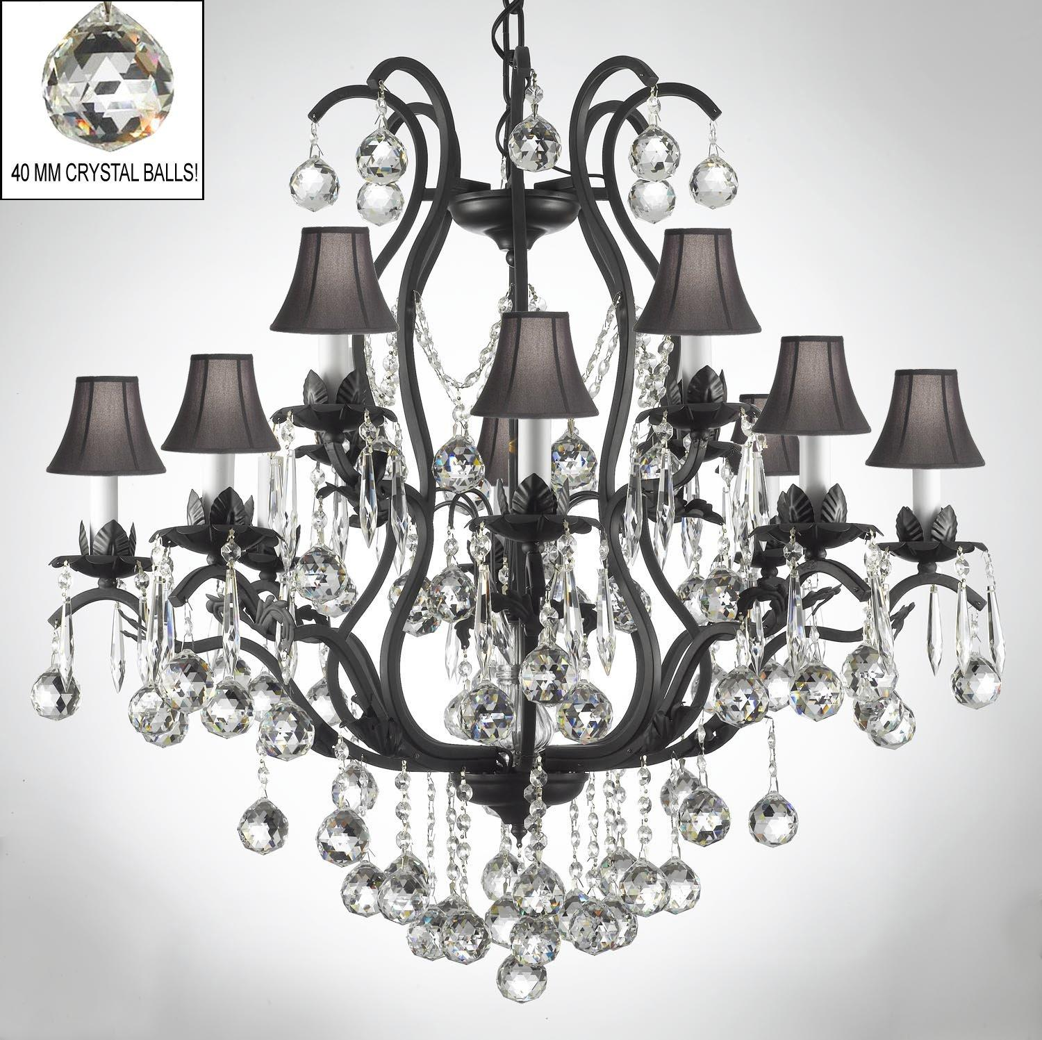 Wrought Iron Crystal Chandelier Lighting s Dressed With Crystal Balls