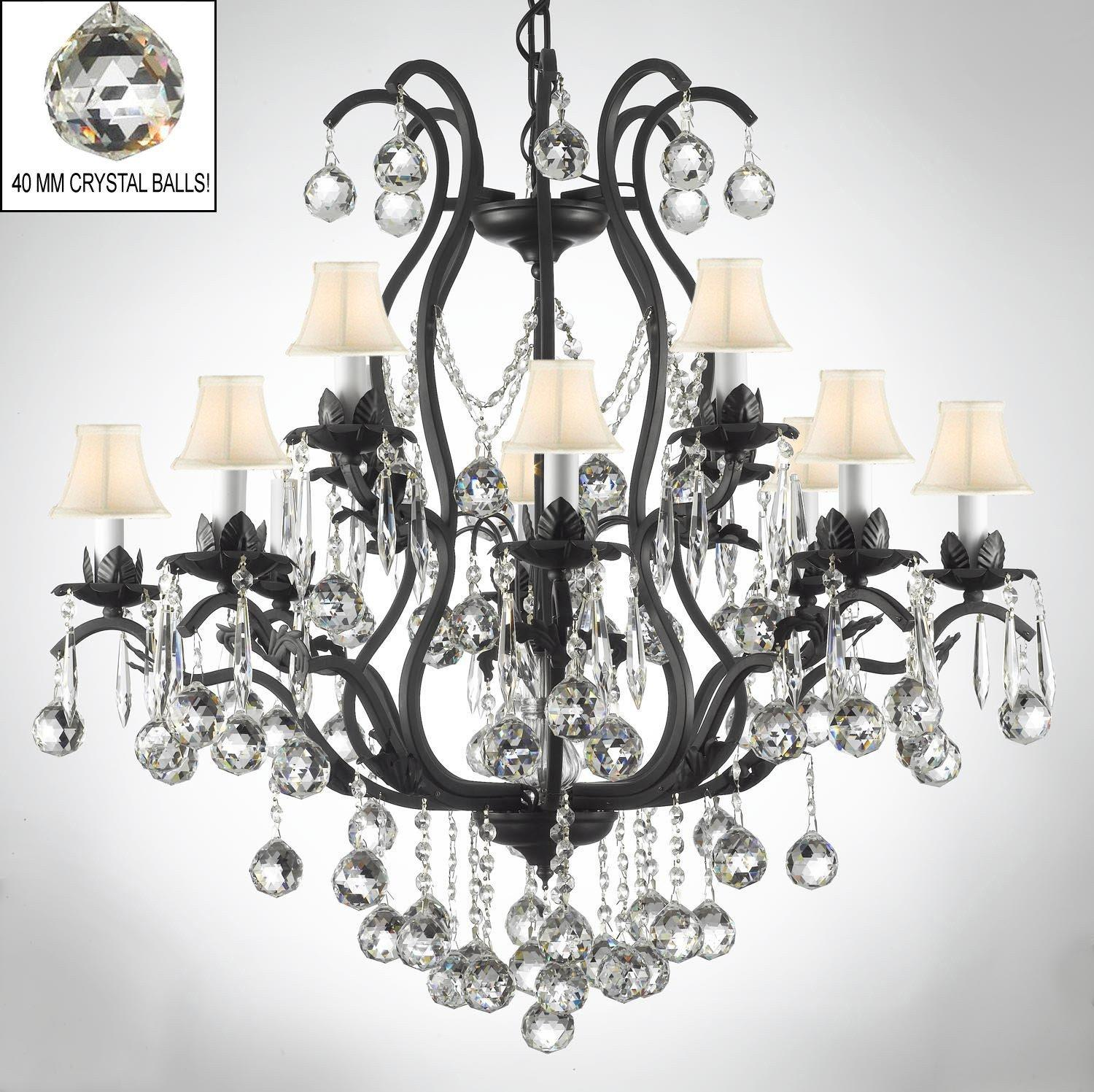 Wrought Iron Empress Crystal Chandelier Lighting S Dressed With Faceted White Shades On Free Shipping Today