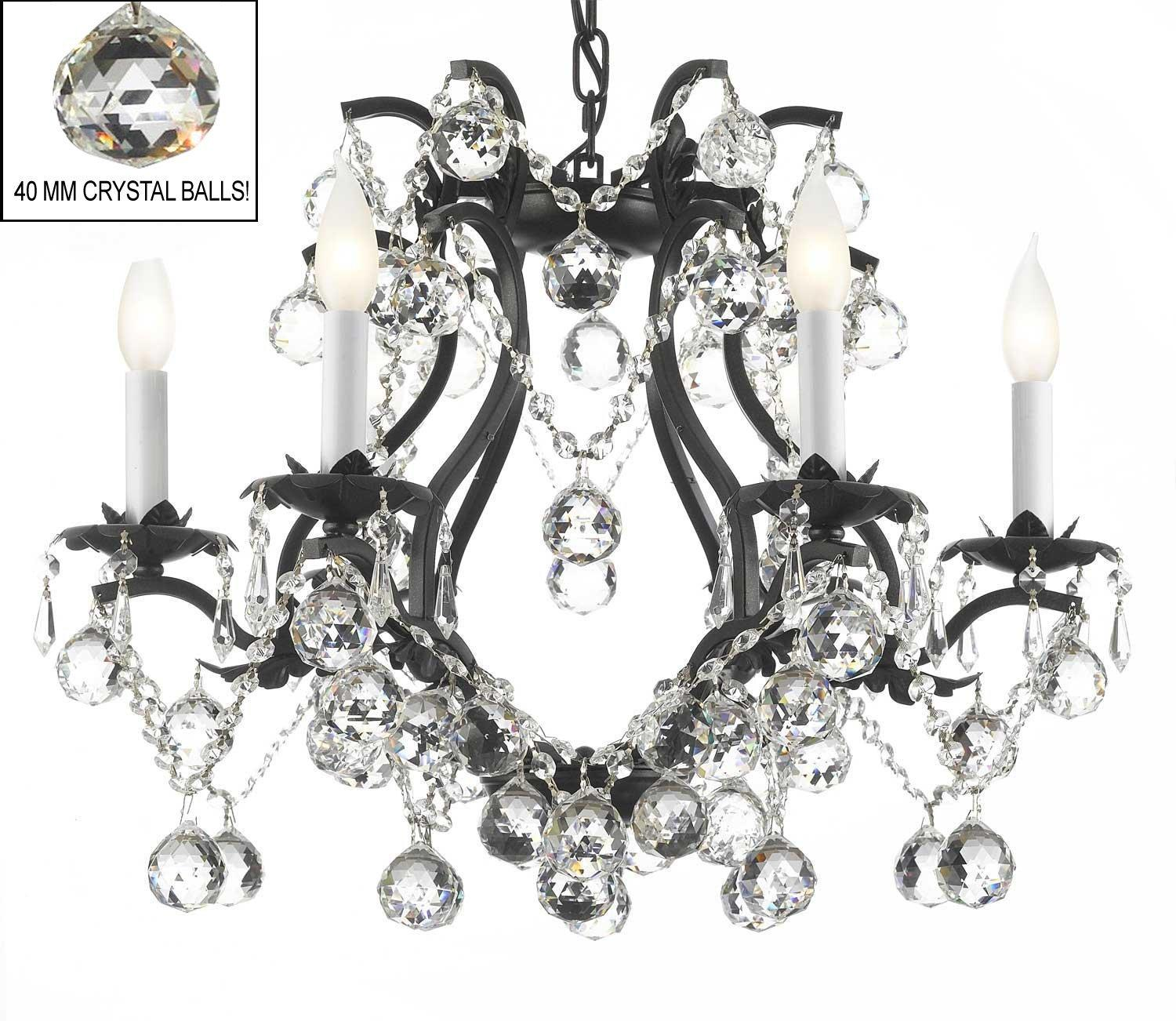 Black Wrought Iron Crystal Chandelier Lights H19 x W20 Dressed With Faceted Crystal Balls