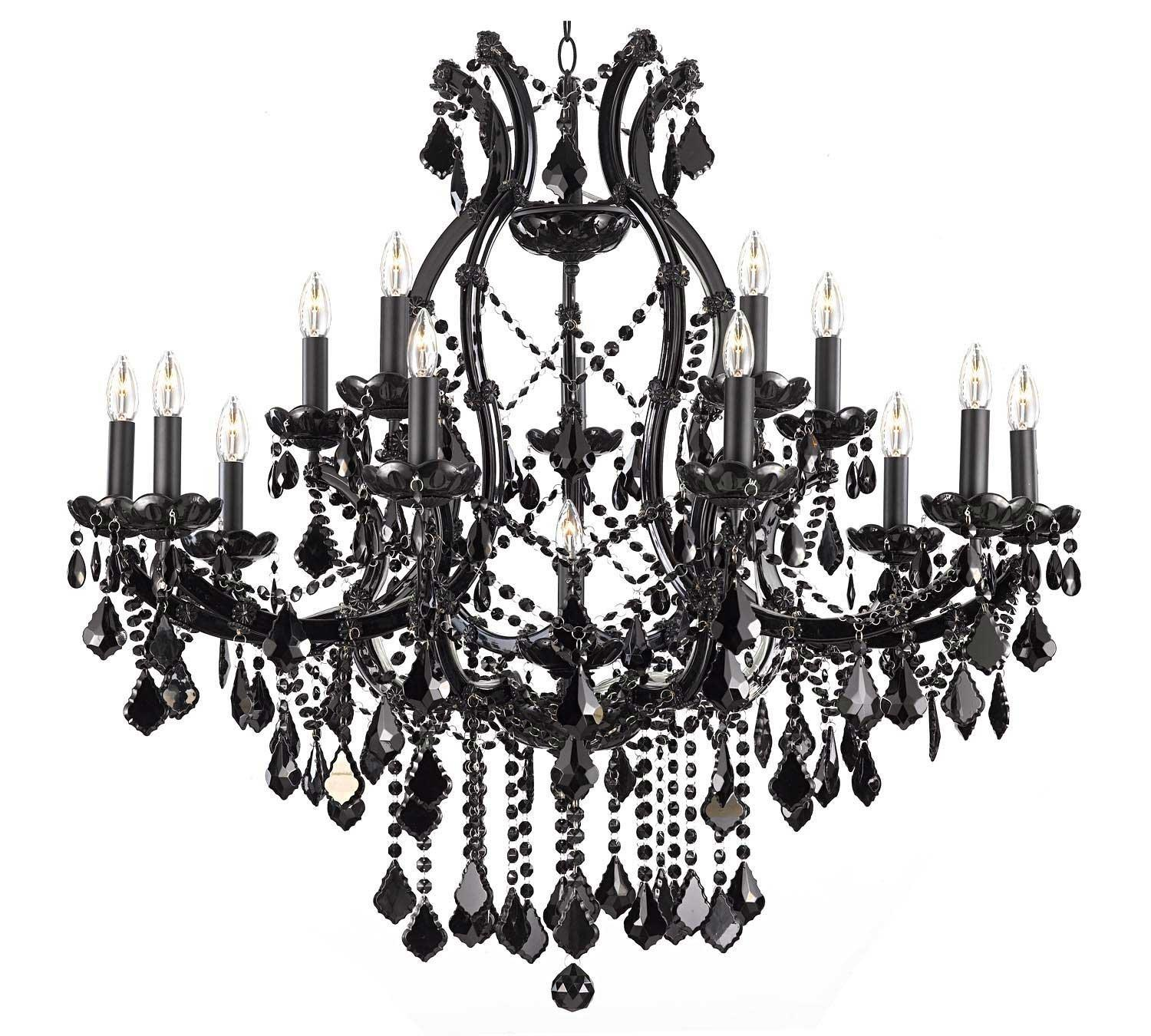 Jet BlackChandelier Lighting Crystal With 16 Lights H37x W38
