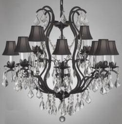 Wrought Iron Crystal Chandelier Lighting With Black Shades - Thumbnail 0