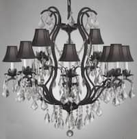 Wrought Iron Crystal Chandelier Lighting With Black Shades
