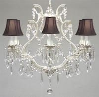 Wrought Iron Crystal Chandelier Lighting With Black Shades H19 W20