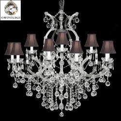 Crystal Chandelier With with 16 Lights & Crystal Balls With Black Shades
