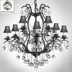 Wrought Iron Crystal Chandelier Lighting s Dressed With Crystal Balls - Thumbnail 0