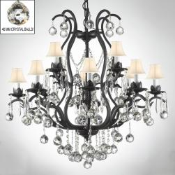 Wrought Iron Empress Crystal Chandelier Lighting s Dressed With Faceted Crystal Balls & White Shades