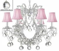 White Wrought Iron Crystal Chandelier Lighting With Pink Shades & Faceted Crystal Balls H19 x W20