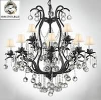 Wrought Iron Empress Crystal Chandelier Lighting With Faceted Crystal Balls & White Shades