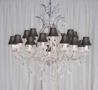 Maria Theresa Chandelier Lighting Crystal With Black Shades H52 x W46