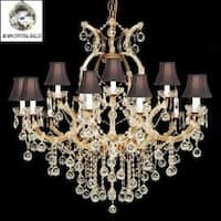 Crystal Chandelier Gold With Crystal Balls & Black Shades