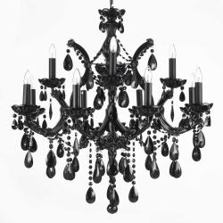 Jet BlackChandelier Lighting Crystal H30 x W28 - Thumbnail 0