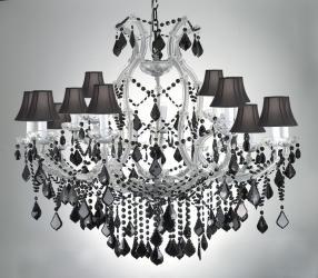 Maria Theresa Chandelier Lighting Crystal LightsH38 W37 Jet Black Crystal & Shades