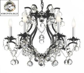 Black Wrought Iron Crystal Chandelier Lights H19 x W20 Dressed With Faceted Crystal Balls - Thumbnail 0
