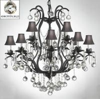 Wrought Iron Empress Crystal Chandelier Lighting s Dressed With Faceted Crystal Balls & Black Shades