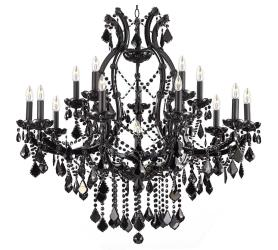 Jet BlackChandelier Lighting Crystal With 16 Lights H37x W38 - Thumbnail 0