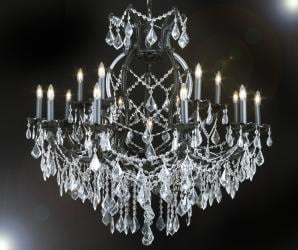 Jet Black Crystal Chandelier Lighting With Clear Crystal H38 x W37