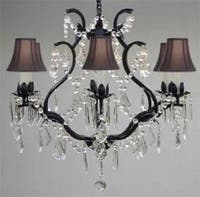 Wrought Iron Crystal Chandelier Lighting With Black Shades H19 x W20