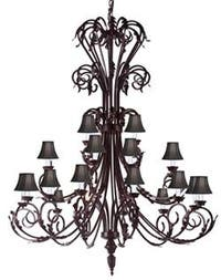Large Entryway/Foyer Wrought Iron Chandelier Lighting 50In Tall With Black Shades