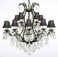 Wrought Iron Crystal Chandelier Lighting With Shades H36 x W36